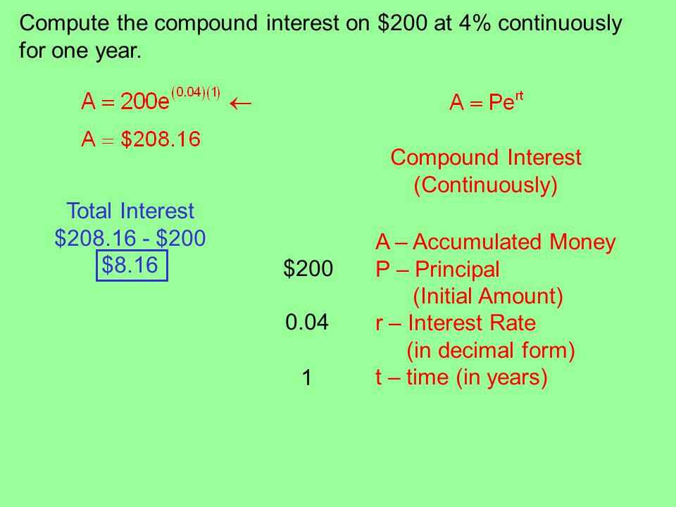Compute the compound interest on $200 at 4% continuously for one year.