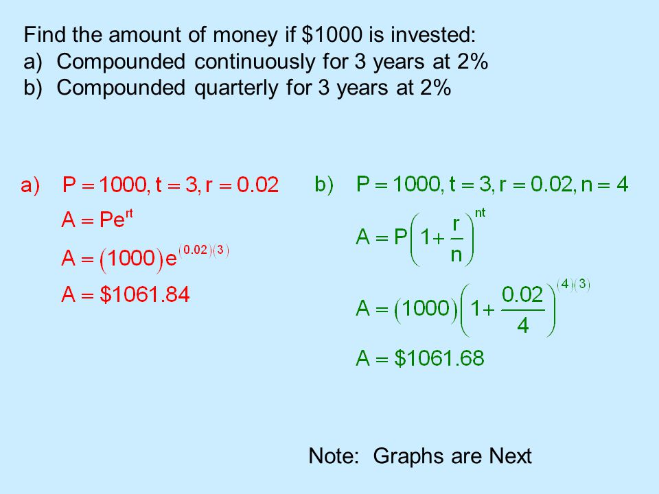 Find the amount of money if $1000 is invested: a)Compounded continuously for 3 years at 2% b)Compounded quarterly for 3 years at 2% Note: Graphs are Next