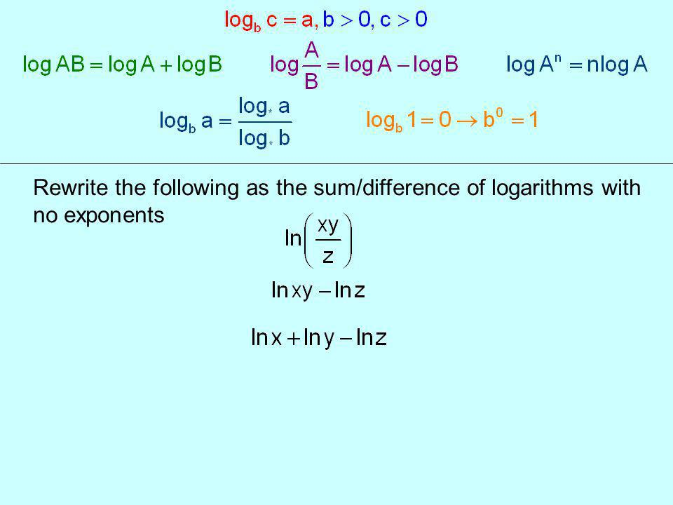 Rewrite the following as the sum/difference of logarithms with no exponents