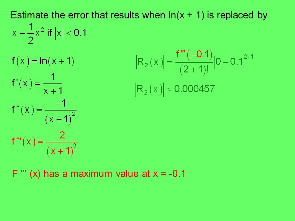 Estimate the error that results when ln(x + 1) is replaced by F ''' (x) has a maximum value at x = -0.1