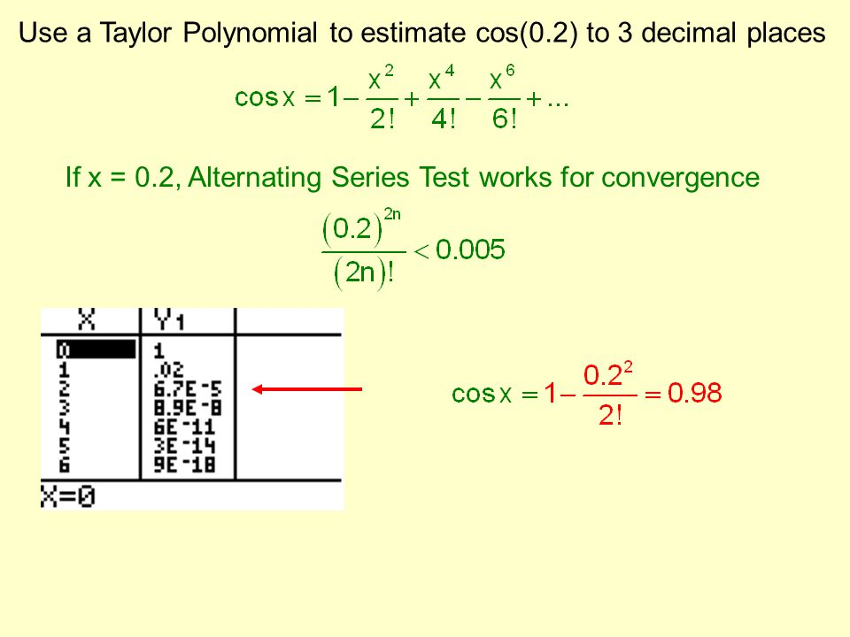 Use a Taylor Polynomial to estimate cos(0.2) to 3 decimal places If x = 0.2, Alternating Series Test works for convergence