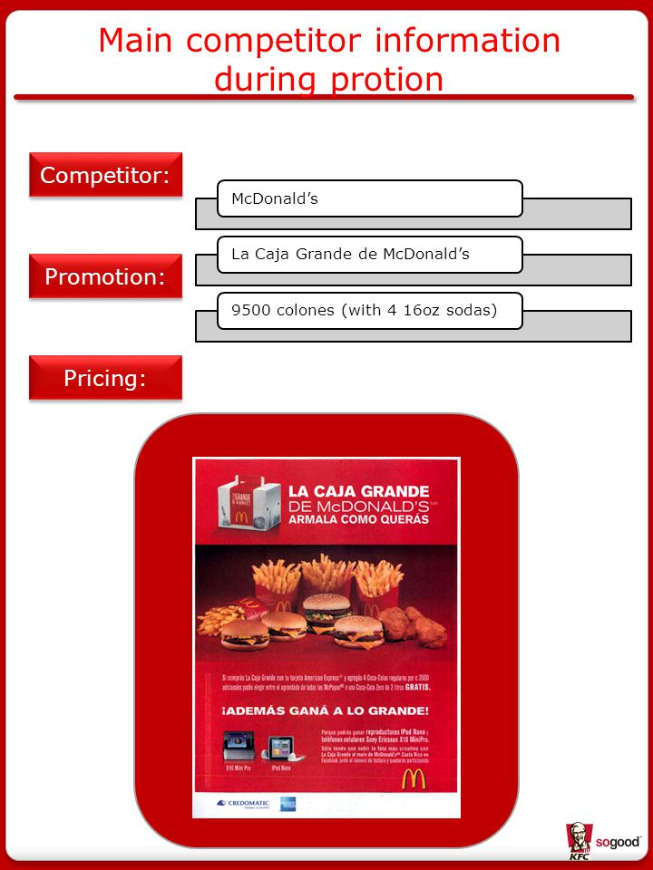 Main competitor information during protion Pricing: Competitor: McDonald'sLa Caja Grande de McDonald's9500 colones (with 4 16oz sodas) Promotion: