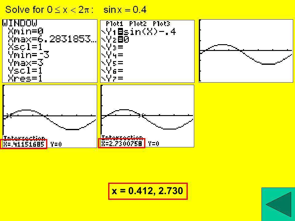 x = 0.412, 2.730