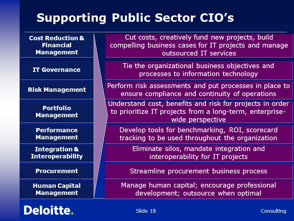 Consulting Slide 18 Supporting Public Sector CIO's IT Governance Tie the organizational business objectives and processes to information technology Cu