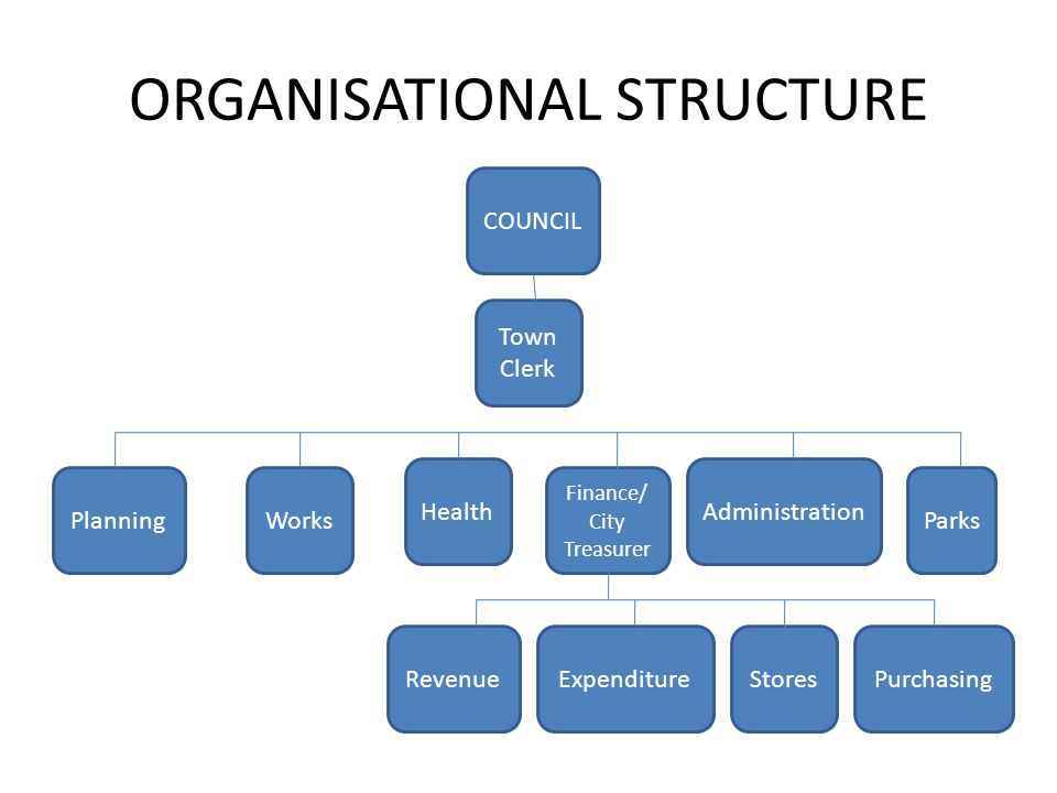 ORGANISATIONAL STRUCTURE Town Clerk Works Health Finance/ City Treasurer Administration ParksPlanning COUNCIL RevenueExpenditureStoresPurchasing