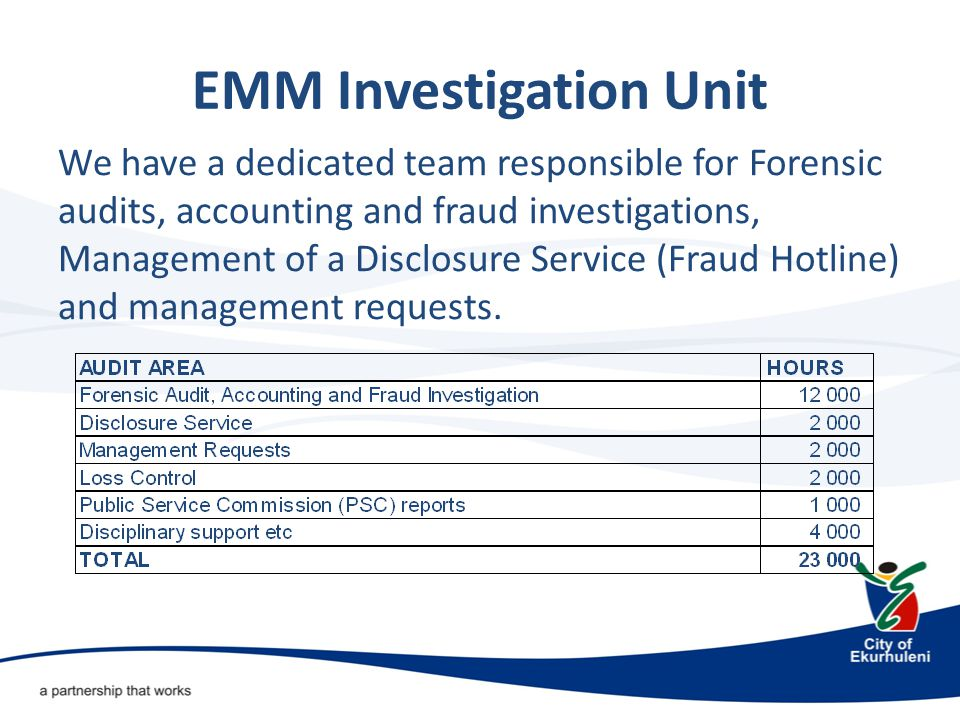 EMM Investigation Unit We have a dedicated team responsible for Forensic audits, accounting and fraud investigations, Management of a Disclosure Service (Fraud Hotline) and management requests.