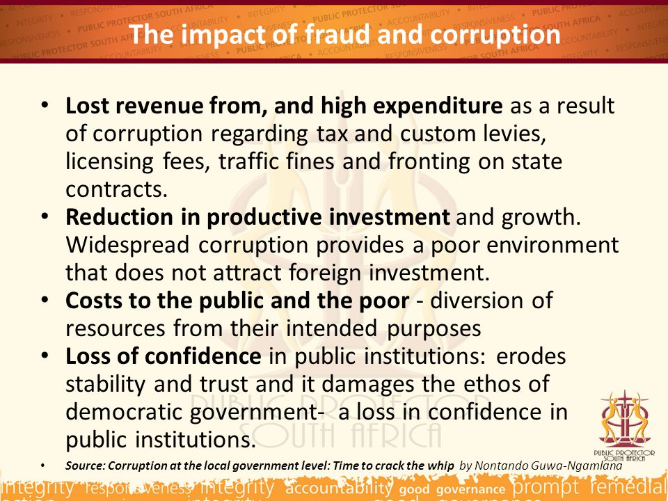 The impact of fraud and corruption Lost revenue from, and high expenditure as a result of corruption regarding tax and custom levies, licensing fees, traffic fines and fronting on state contracts.