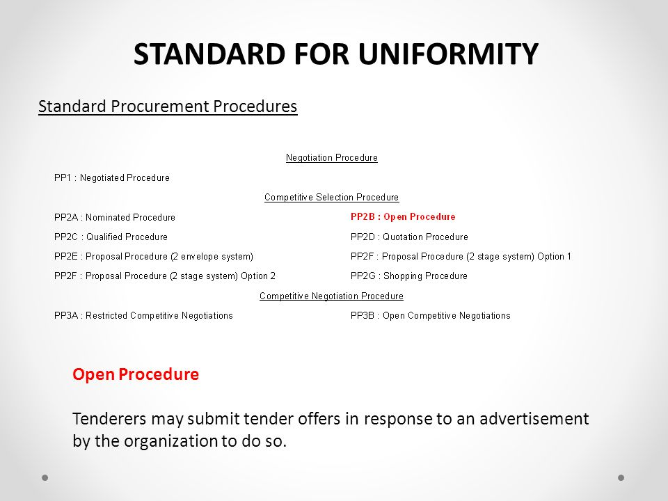 STANDARD FOR UNIFORMITY Requirements Construction procurement shall be undertaken in accordance with: a)the provisions of legislation regulating procurement; and b)the CIDB Code of Conduct for all parties engaged in Construction Procurement Legislation Regulating Procurement Constitution Preferential Procurement Policy Framework Act (PPPFA) PPPFA Regulations Public Finance Management Act (PFMA) Municipal Finance Management Act (MFMA) MFMA Regulations Supply Chain Management Policy Broad-Based Black Economic Empowerment Act (B-BBEE) B-BBEE : Codes of Good Practice Construction Industry Development Board Act (CIDB) CIDB Regulations