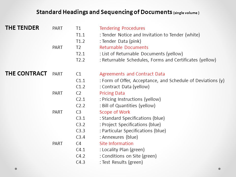 Contract Documentation Standard Documentation Conditions of Tender Conditions of Contract Specifications / SANS Measurement & Payment Site Information Project Specific Tender Data Contract Data Specification Data Pricing Data Site Data Part T1.2.1 T1.2.2 C1.2.1 C1.2.2 C3.1 C3.2 C2.1 C2.2 C4