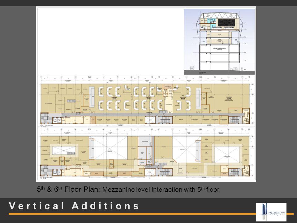 V e r t i c a l A d d i t i o n s 5 th & 6 th Floor Plan: Mezzanine level interaction with 5 th floor