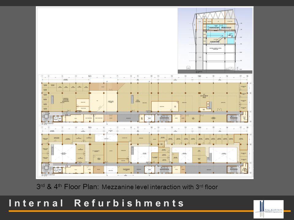 I n t e r n a l R e f u r b i s h m e n t s 3 rd & 4 th Floor Plan: Mezzanine level interaction with 3 rd floor