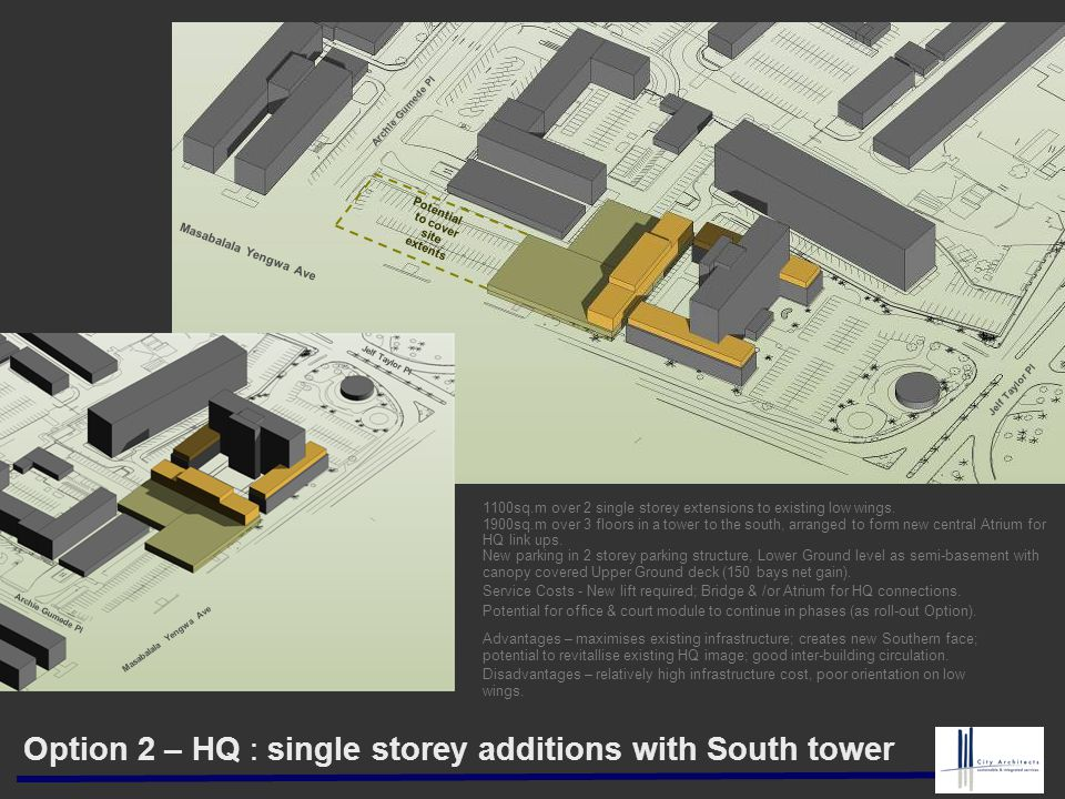 Option 2 – HQ : single storey additions with South tower 1100sq.m over 2 single storey extensions to existing low wings. 1900sq.m over 3 floors in a t