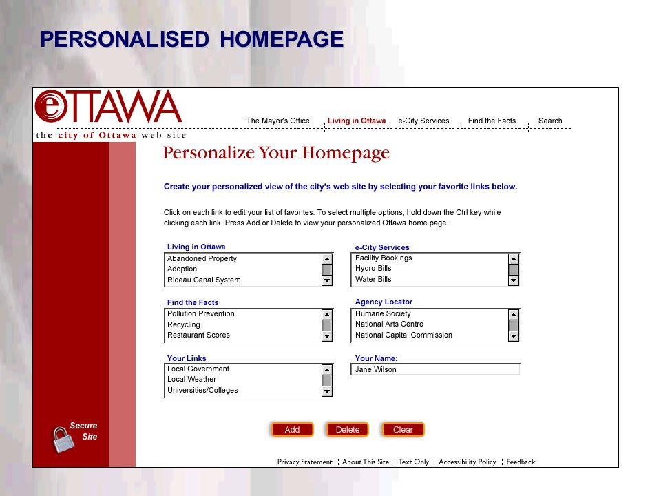 This information is confidential. Do not disclose outside DTT. PERSONALISED HOMEPAGE