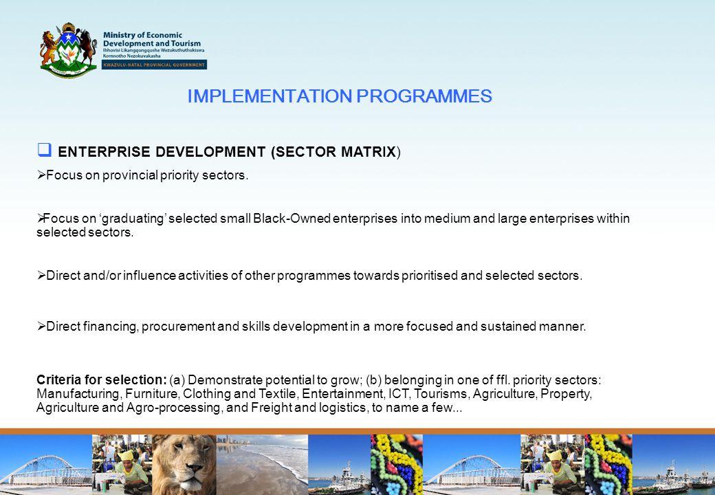 IMPLEMENTATION PROGRAMMES  ENTERPRISE DEVELOPMENT (SECTOR MATRIX)  Focus on provincial priority sectors.