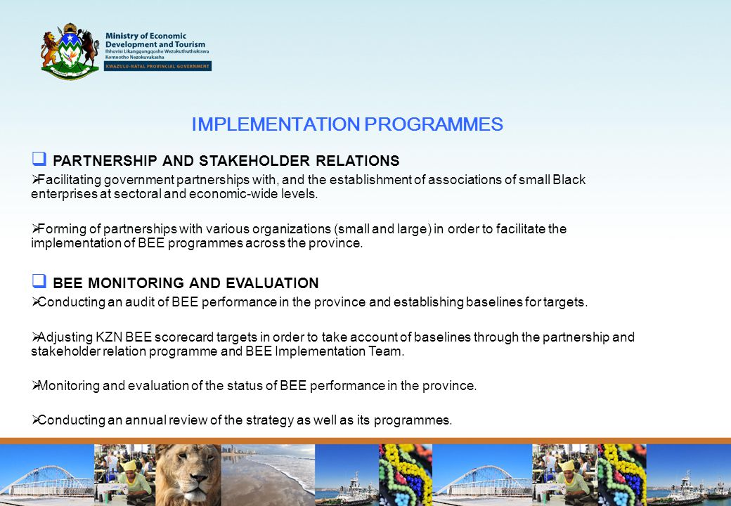 IMPLEMENTATION PROGRAMMES  PARTNERSHIP AND STAKEHOLDER RELATIONS  Facilitating government partnerships with, and the establishment of associations of small Black enterprises at sectoral and economic-wide levels.