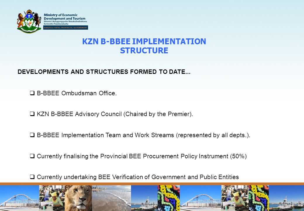 KZN B-BBEE IMPLEMENTATION STRUCTURE DEVELOPMENTS AND STRUCTURES FORMED TO DATE...