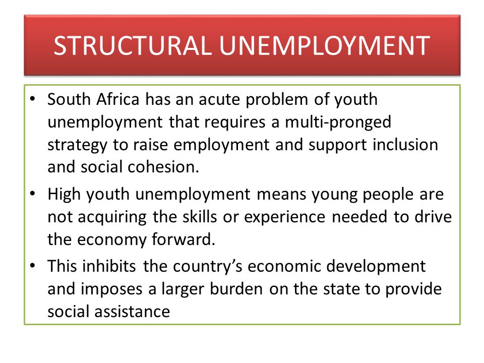 STRUCTURAL UNEMPLOYMENT South Africa has an acute problem of youth unemployment that requires a multi-pronged strategy to raise employment and support