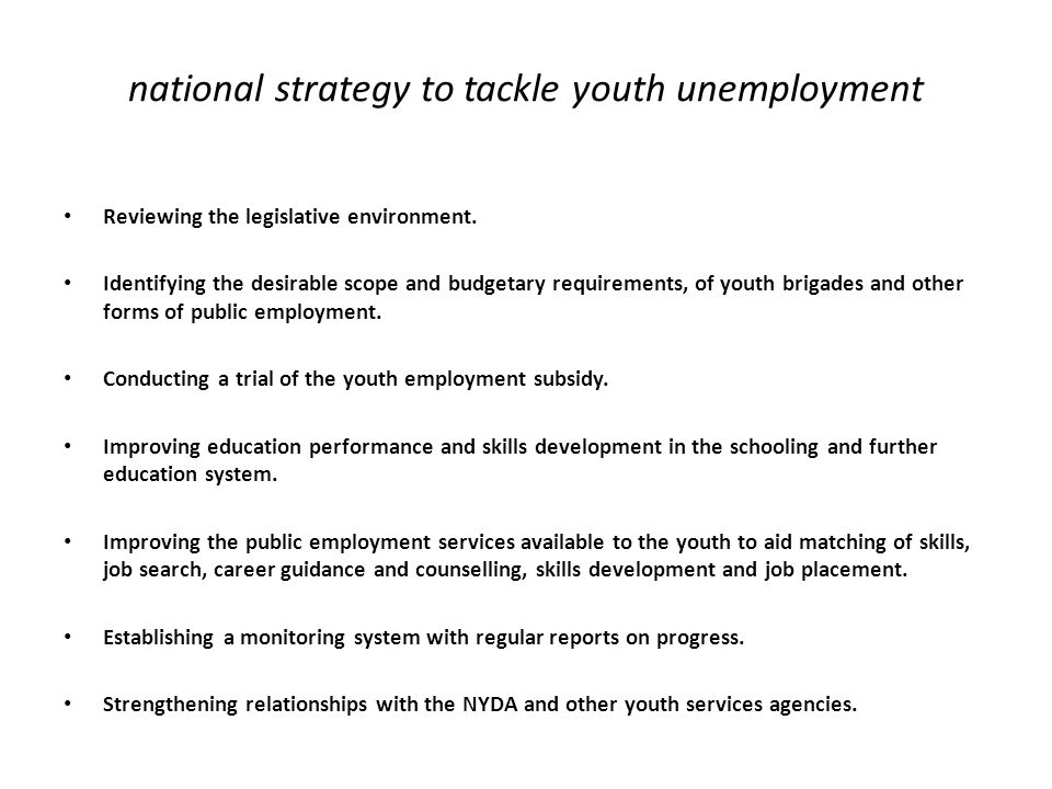 national strategy to tackle youth unemployment Reviewing the legislative environment. Identifying the desirable scope and budgetary requirements, of y