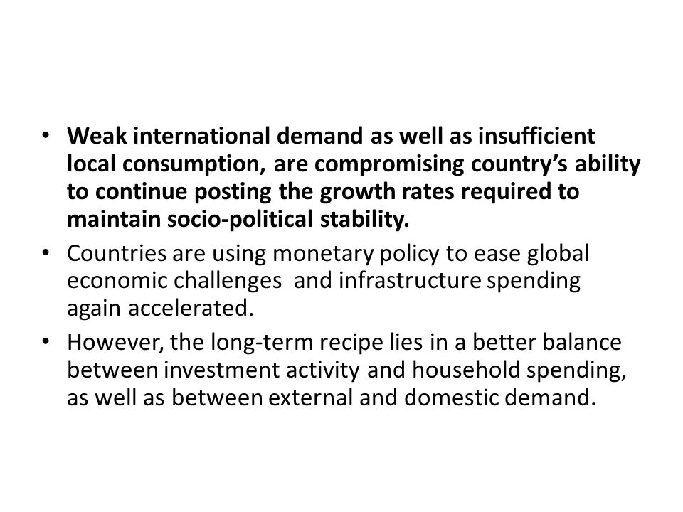 Weak international demand as well as insufficient local consumption, are compromising country's ability to continue posting the growth rates required