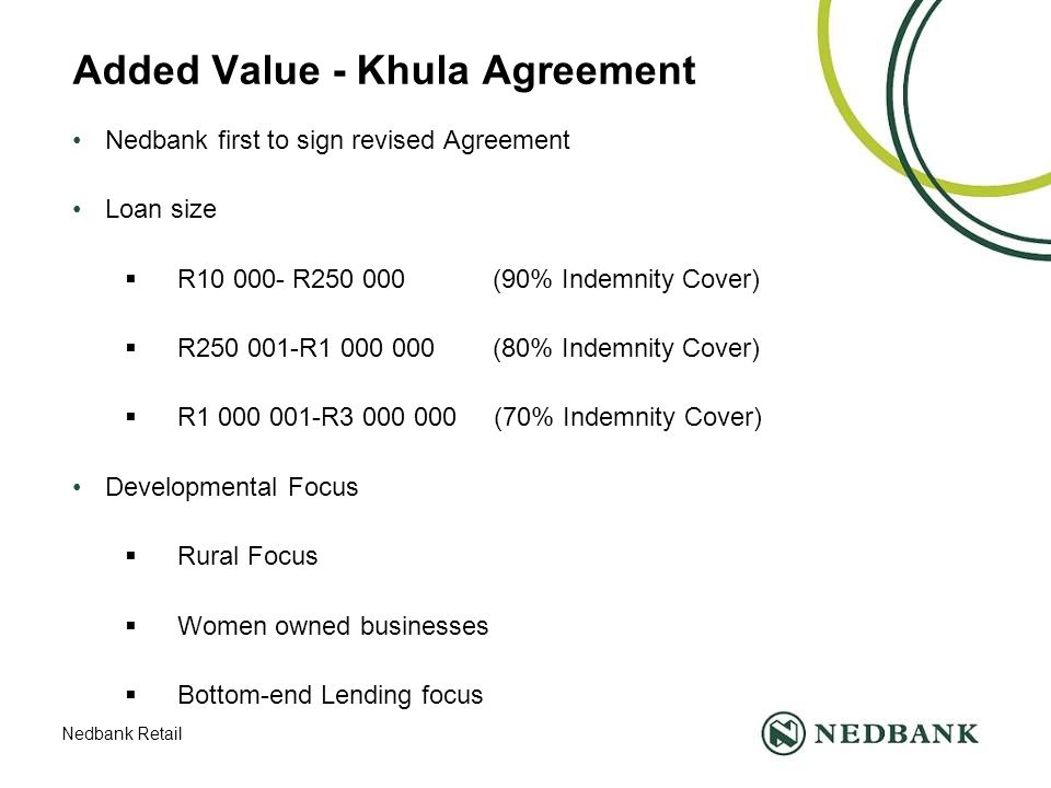 Nedbank Retail Added Value - Khula Agreement Nedbank first to sign revised Agreement Loan size  R10 000- R250 000 (90% Indemnity Cover)  R250 001-R1 000 000 (80% Indemnity Cover)  R1 000 001-R3 000 000 (70% Indemnity Cover) Developmental Focus  Rural Focus  Women owned businesses  Bottom-end Lending focus