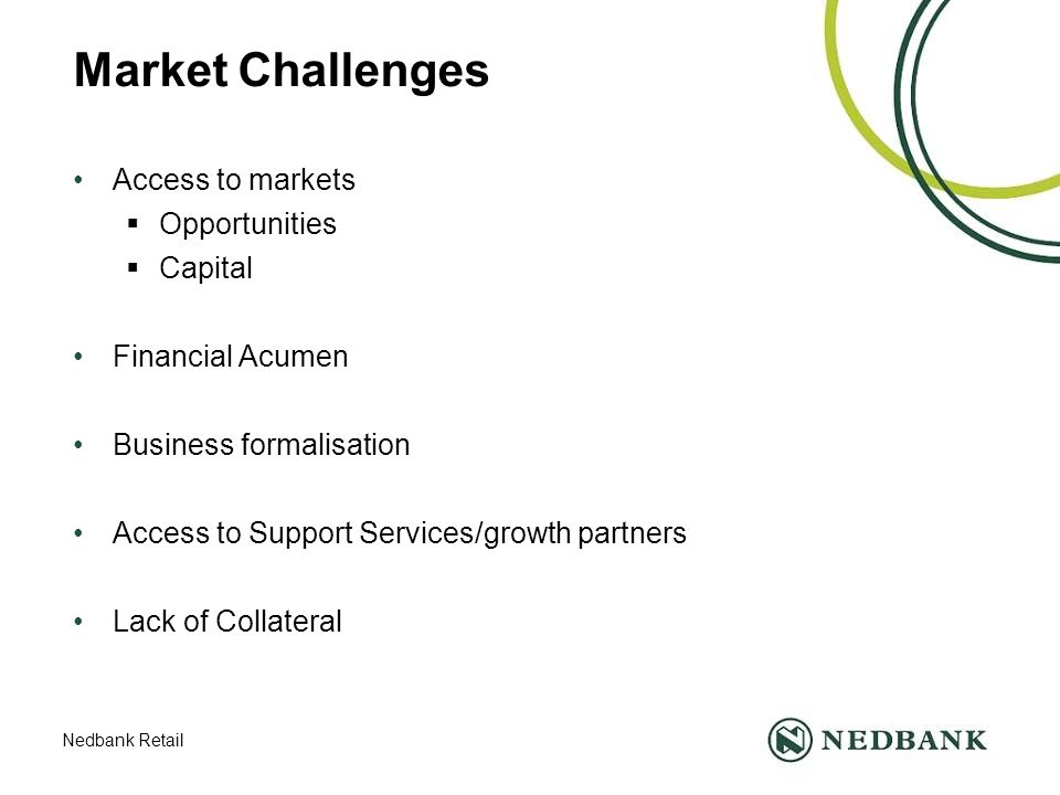 Nedbank Retail Market Challenges Access to markets  Opportunities  Capital Financial Acumen Business formalisation Access to Support Services/growth partners Lack of Collateral