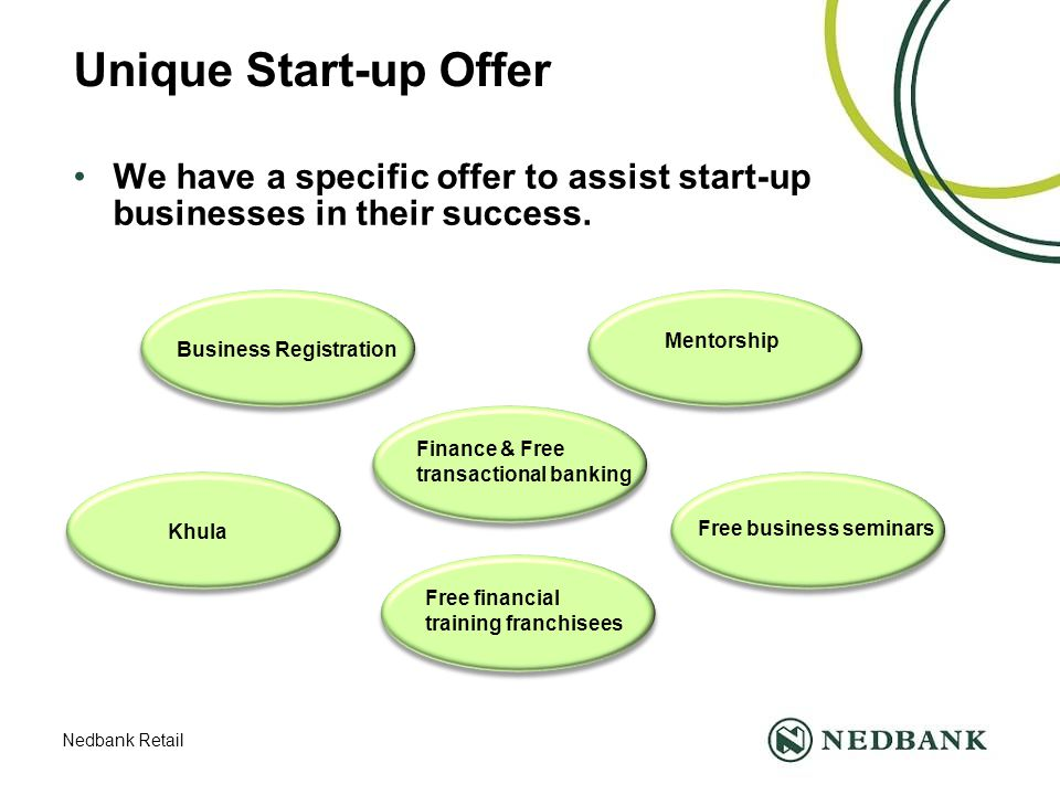 Nedbank Retail Unique Start-up Offer We have a specific offer to assist start-up businesses in their success.
