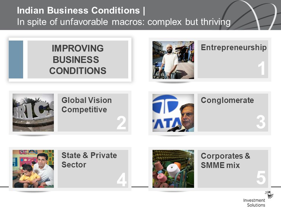 Indian Business Conditions | In spite of unfavorable macros: complex but thriving IMPROVING BUSINESS CONDITIONS Global Vision Competitive State & Private Sector Entrepreneurship Conglomerate 2 4 1 3 Corporates & SMME mix 5
