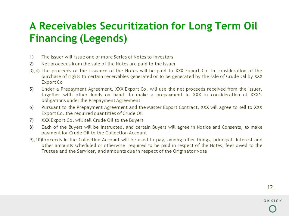 12 A Receivables Securitization for Long Term Oil Financing (Legends) 1)The Issuer will issue one or more Series of Notes to investors 2)Net proceeds from the sale of the Notes are paid to the Issuer 3),4)The proceeds of the issuance of the Notes will be paid to XXX Export Co.