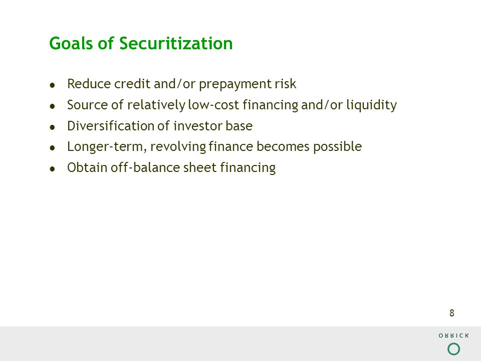 9 Constraints of Securitization Due to high level fixed costs (investment bank structuring fees, rating agencies fees) volume is required.