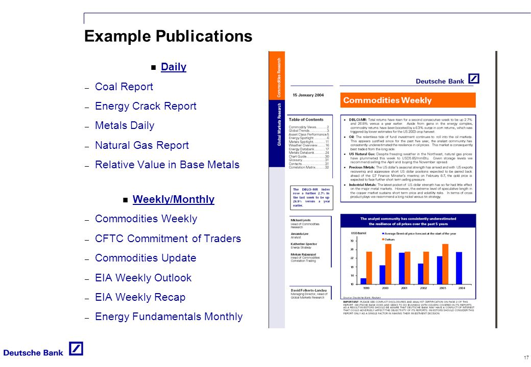 17 Example Publications n Daily – Coal Report – Energy Crack Report – Metals Daily – Natural Gas Report – Relative Value in Base Metals n Weekly/Monthly – Commodities Weekly – CFTC Commitment of Traders – Commodities Update – EIA Weekly Outlook – EIA Weekly Recap – Energy Fundamentals Monthly