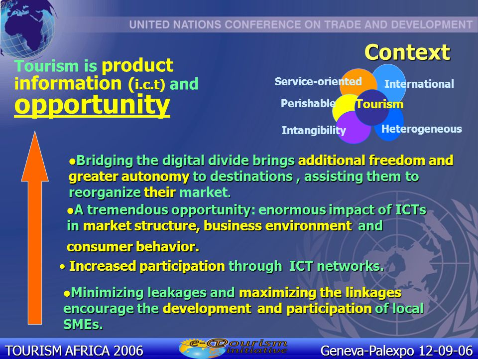 TOURISM AFRICA 2006 Geneva-Palexpo 12-09-06 ICT for Tourism, Tourism for development, E-tourism for all THE UNCTAD E-TOURISM INITIATIVE http://etourism.unctad.org Impact of digital innovation on processes and organizational configurations in the tourism industry E-tourism: Paving the ground to autonomy and success for developing destination countries Demand Supply
