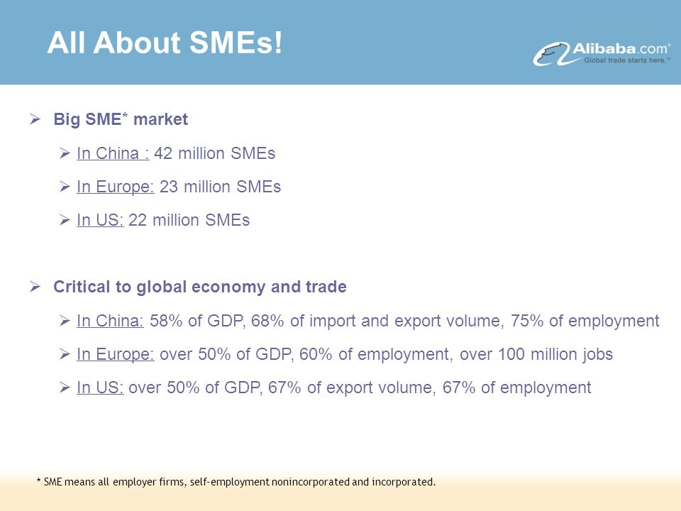 DRAFT – Strictly Confidential  Big SME * market  In China : 42 million SMEs  In Europe: 23 million SMEs  In US: 22 million SMEs  Critical to global economy and trade  In China: 58% of GDP, 68% of import and export volume, 75% of employment  In Europe: over 50% of GDP, 60% of employment, over 100 million jobs  In US: over 50% of GDP, 67% of export volume, 67% of employment * SME means all employer firms, self-employment nonincorporated and incorporated.