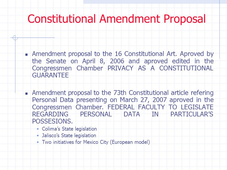Constitutional Amendment Proposal Amendment proposal to the 16 Constitutional Art. Aproved by the Senate on April 8, 2006 and aproved edited in the Co