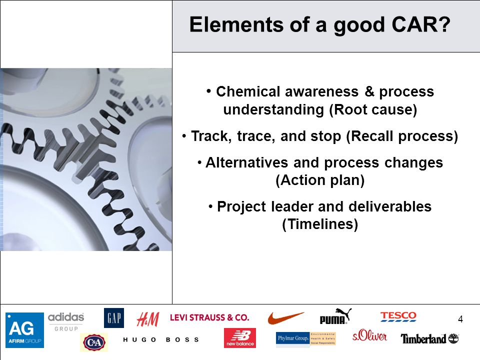 4 Elements of a good CAR? Chemical awareness & process understanding (Root cause) Track, trace, and stop (Recall process) Alternatives and process cha
