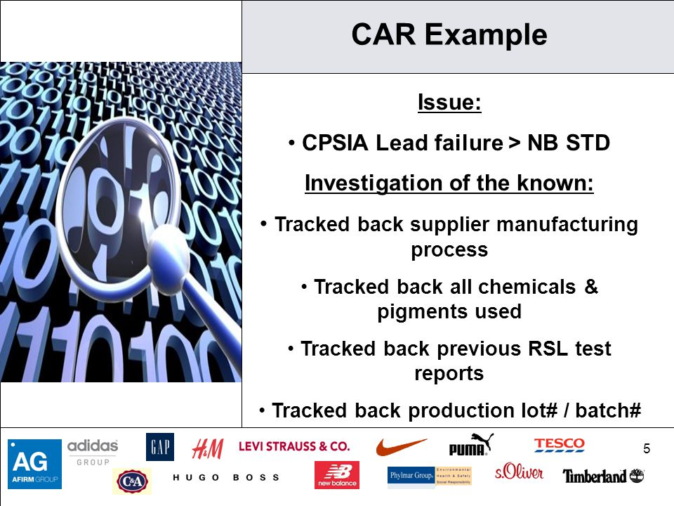 5 CAR Example Issue: CPSIA Lead failure > NB STD Investigation of the known: Tracked back supplier manufacturing process Tracked back all chemicals &