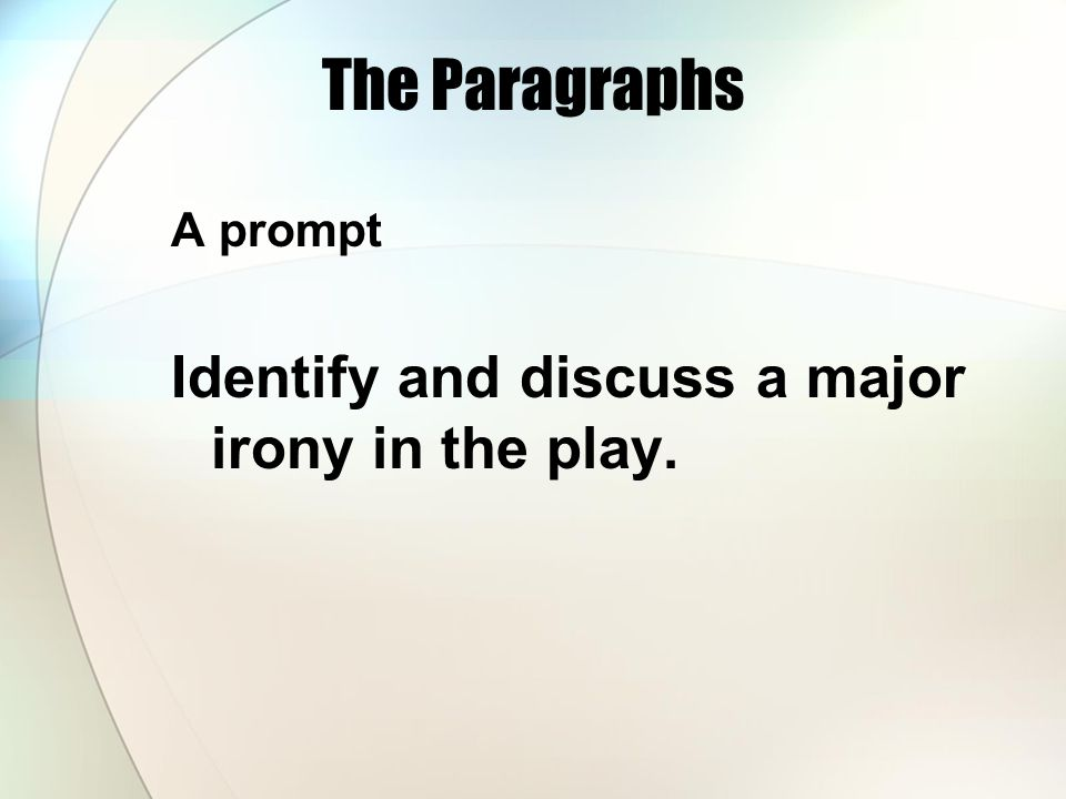 The Paragraphs A prompt Identify and discuss a major irony in the play.