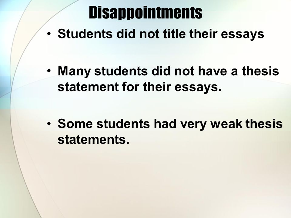 General Writing Requirements for Miller's English IIIA this is an advanced English class; work should be presented using correct grammar and solid writing skills essays and paragraphs should be titled write in third person (never use second unless in quotation; first is allowable only when noted) a paragraph needs a topic sentence; an essay needs a thesis statement