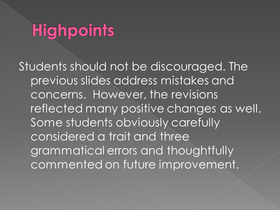 Students should not be discouraged. The previous slides address mistakes and concerns.
