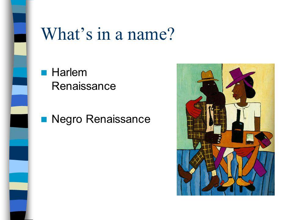 What's in a name Harlem Renaissance Negro Renaissance