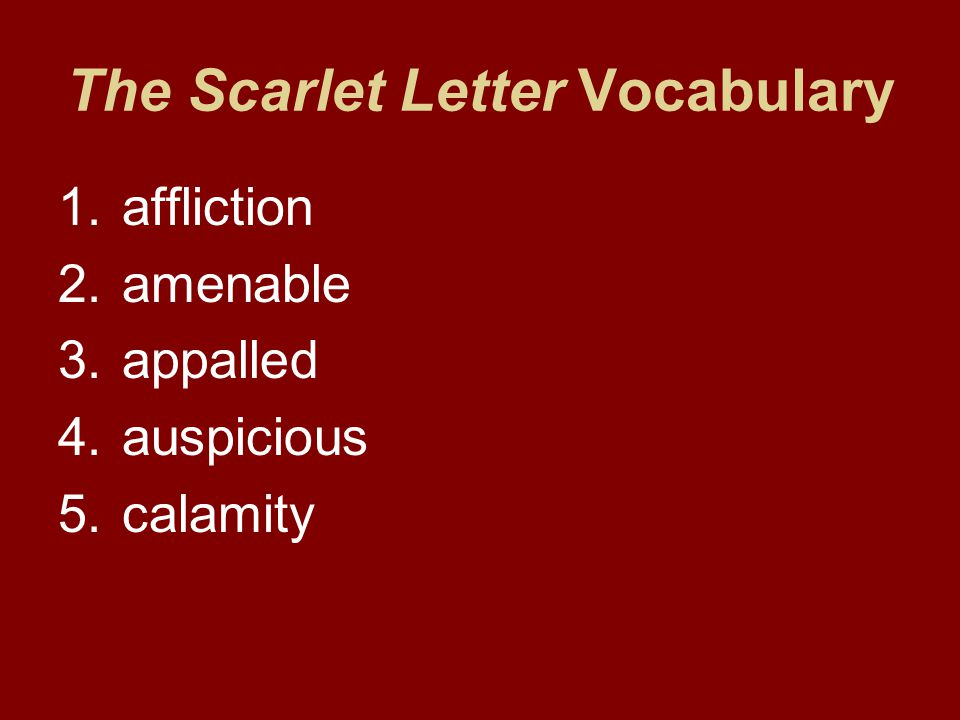 The Scarlet Letter Vocabulary 1.affliction 2.amenable 3.appalled 4.auspicious 5.calamity