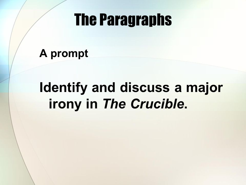 The Paragraphs A prompt Identify and discuss a major irony in The Crucible.