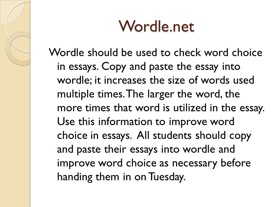 Wordle.net Wordle should be used to check word choice in essays.