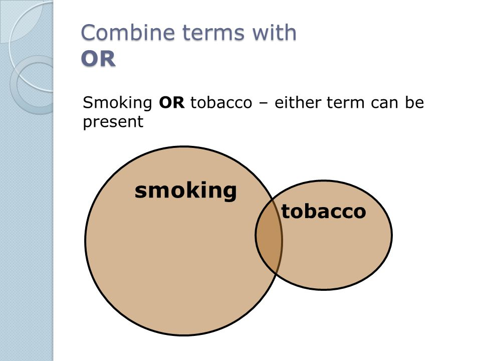 Combine terms with OR smoking tobacco Smoking OR tobacco – either term can be present