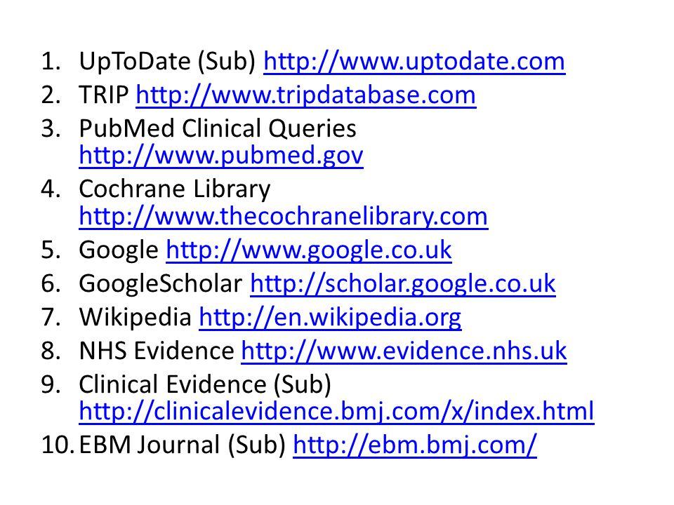 1.UpToDate (Sub) http://www.uptodate.comhttp://www.uptodate.com 2.TRIP http://www.tripdatabase.comhttp://www.tripdatabase.com 3.PubMed Clinical Queries http://www.pubmed.gov http://www.pubmed.gov 4.Cochrane Library http://www.thecochranelibrary.com http://www.thecochranelibrary.com 5.Google http://www.google.co.ukhttp://www.google.co.uk 6.GoogleScholar http://scholar.google.co.ukhttp://scholar.google.co.uk 7.Wikipedia http://en.wikipedia.orghttp://en.wikipedia.org 8.NHS Evidence http://www.evidence.nhs.ukhttp://www.evidence.nhs.uk 9.Clinical Evidence (Sub) http://clinicalevidence.bmj.com/x/index.html http://clinicalevidence.bmj.com/x/index.html 10.EBM Journal (Sub) http://ebm.bmj.com/http://ebm.bmj.com/