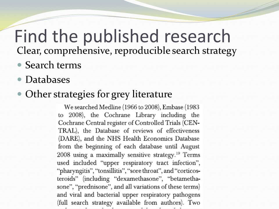 Find the published research Clear, comprehensive, reproducible search strategy Search terms Databases Other strategies for grey literature