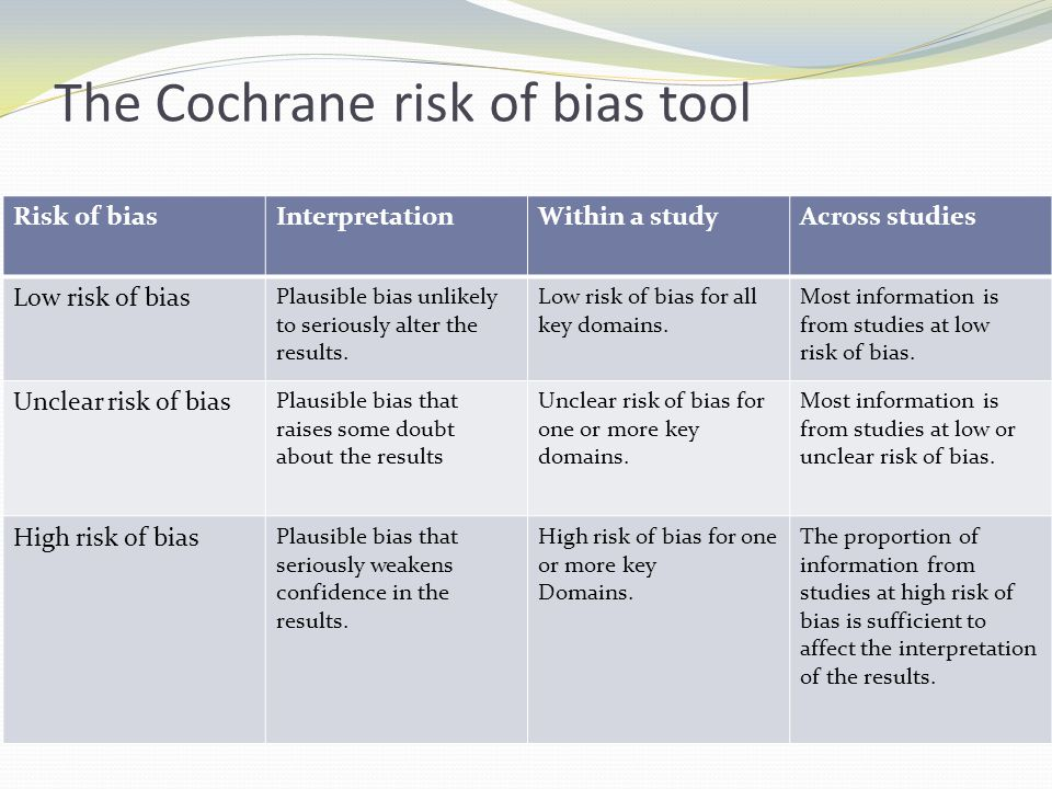 The Cochrane risk of bias tool Risk of biasInterpretationWithin a studyAcross studies Low risk of bias Plausible bias unlikely to seriously alter the