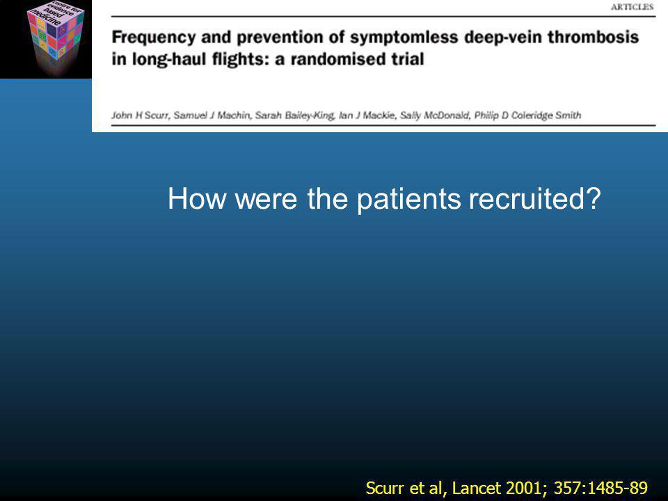 Scurr et al, Lancet 2001; 357:1485-89 How were the patients recruited?
