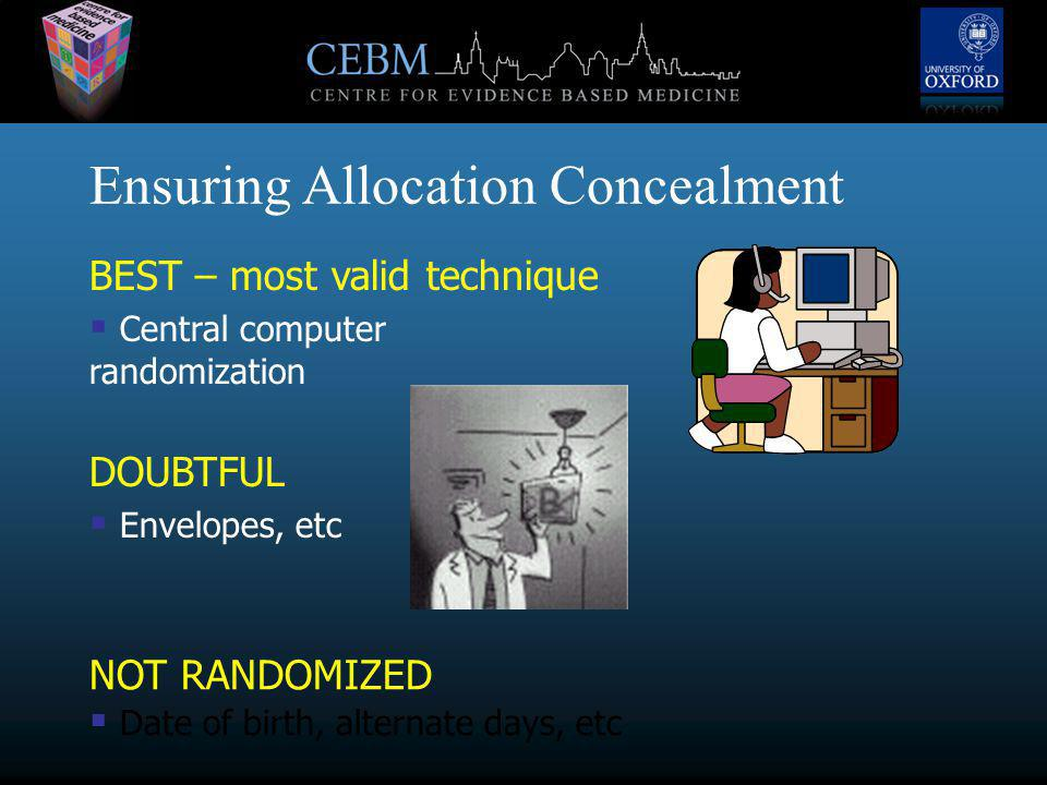 Ensuring Allocation Concealment BEST – most valid technique  Central computer randomization DOUBTFUL  Envelopes, etc NOT RANDOMIZED  Date of birth, alternate days, etc