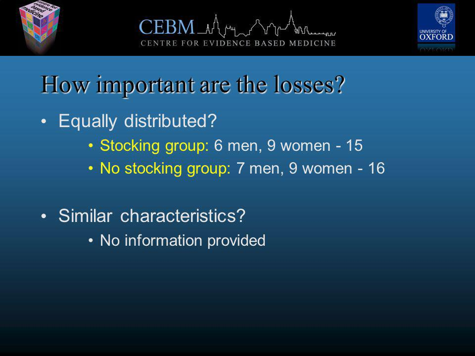 How important are the losses. Equally distributed.