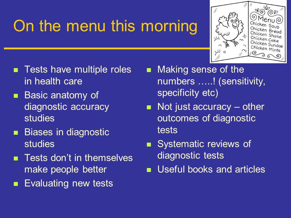 Useful journal articles on diagnostics Bossuyt.